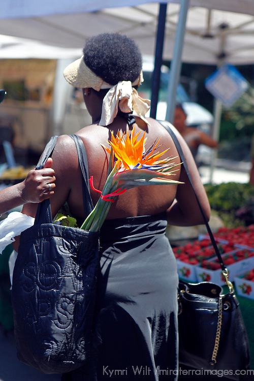 USA, California, Los Angeles. Woman carries Birds of Paradise purchased at the Hollywood farmer's market.