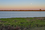Moon rising at dusk over Katy Prairie, in west Harris County, Texas.