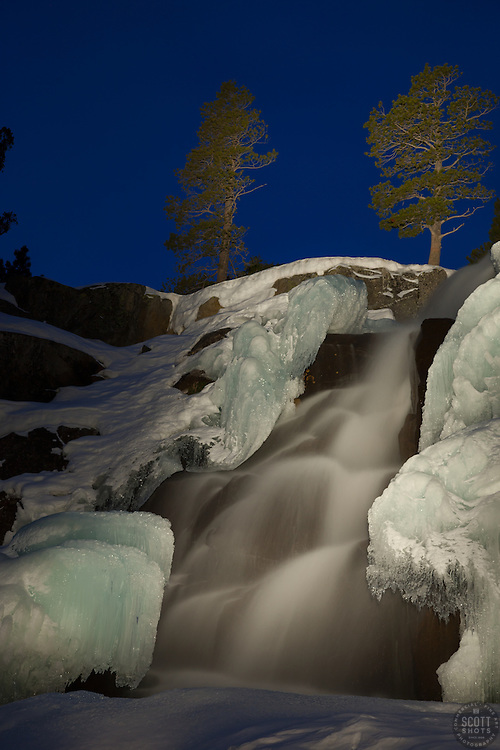 """Eagle Falls at Night"" - Photograph taken at night of Eagle Falls, above Emerald Bay, Lake Tahoe. The effect in this photo was achieved by ""light painting"" the waterfall with a high powered flashlight during a long exposure."