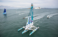 Image licensed to Lloyd Images<br /> &quot;Sultanate of Oman&quot; MOD70 Trimaran skippered by Sidney Gavignet (FRA) shown here at the start of the 2015 Rolex Fastnet Race. Cowes. Isle of Wight<br /> Credit: Lloyd Images