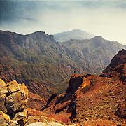 Blick auf die Berge der Caldera de Taburiente auf La Palma, Kanarische Inseln, Spanien