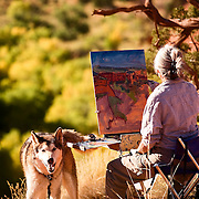 "Utah artist Trent Alvey and ""Moses""  painting in Escalante Grand Staircase National Monument."