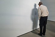 A man reads the artists statement on a piece at The Broad Museum in Los Angeles, Thursday, Nov. 12, 2015.