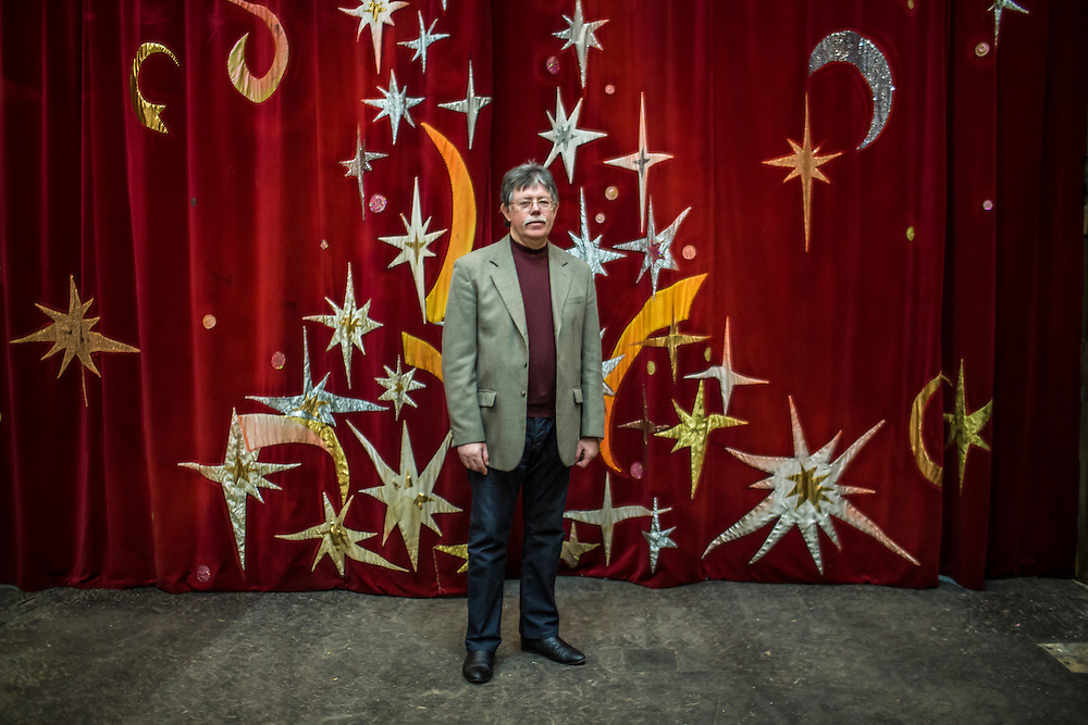DONETSK, UKRAINE - FEBRUARY 2, 2015: Juriy N. Kukuzenko, director of the Donetsk State Circus, poses for a portrait in Donetsk, Ukraine. The circus was closed for nearly six months due to fighting in Eastern Ukraine but put on ten New Year's performances, only to have violence flare again and cancel further planned performances. CREDIT: Brendan Hoffman for The New York Times