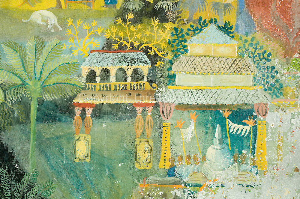 Detail of Donald Friend Mural. <br /> 'BRIEF' Bevis Bawa's home and garden near Aluthgama, Sri Lanka.