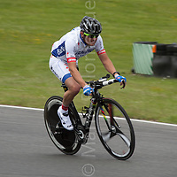 © Licensed to London News Pictures. 19/06/12. Brands Hatch, Kent.Italian Paralympic cyclist trains at Brands Hatch, Kent. Up to 150 international athletes come to train at the race circuit at Brands Hatch in Kent for the Paralympic Road Cycling competition taking place on 5-8 September 2012. Picture credit should read Manu Palomeque/LNP