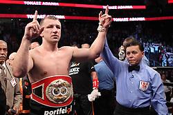 June 16, 2012; Newark, NJ, USA; Tomasz Adamek celebrates his 12 round decision win over Eddie Chambers to capture the IBF North American Heavyweight title.
