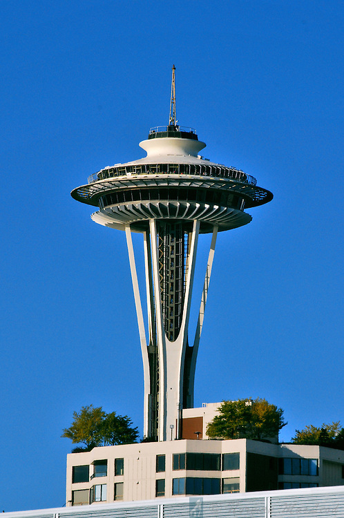 The Space Needle looks like it is growing from a Seattle apartment building