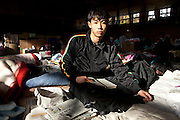 Ryoto Sugawara (16) at Nanminjoo Center, refugee Shelter at a junior highschool of Rikuzentakata