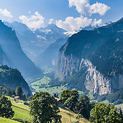 The Lauterbrunnen Breithorn (elevation 3780 meters / 12,402 feet) is a mountain at the western end of the Lauterbrunnen Wall and Lauterbrunnen Valley in the Bernese Alps (Berner Oberland) of Switzerland.  To the lower right is Staubbach Falls (1,000 foot drop), highest waterfall in Switzerland.