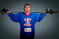 Anze Kopitar at photo shooting with Slovenian HZS hockey jersey before Anze Kopitar Press Conference before going back to Los Angeles for the start of NHL League, on August 31, 2011, in Dvorana Podmezaklja, Jesenice, Slovenia. (Photo by Matic Klansek Velej / Sportida)