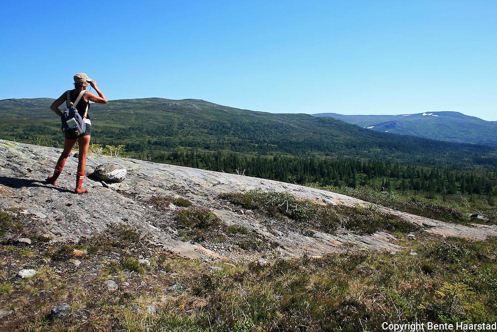 Skarvene og Roltdalen nasjonalpark. Fongen i bakgrunnen. Mari Nygaard og Greta Dalen følger TT-merkingen fra Schulzhytta til Vekta over Høgfjellet. Foto: Bente Haarstad