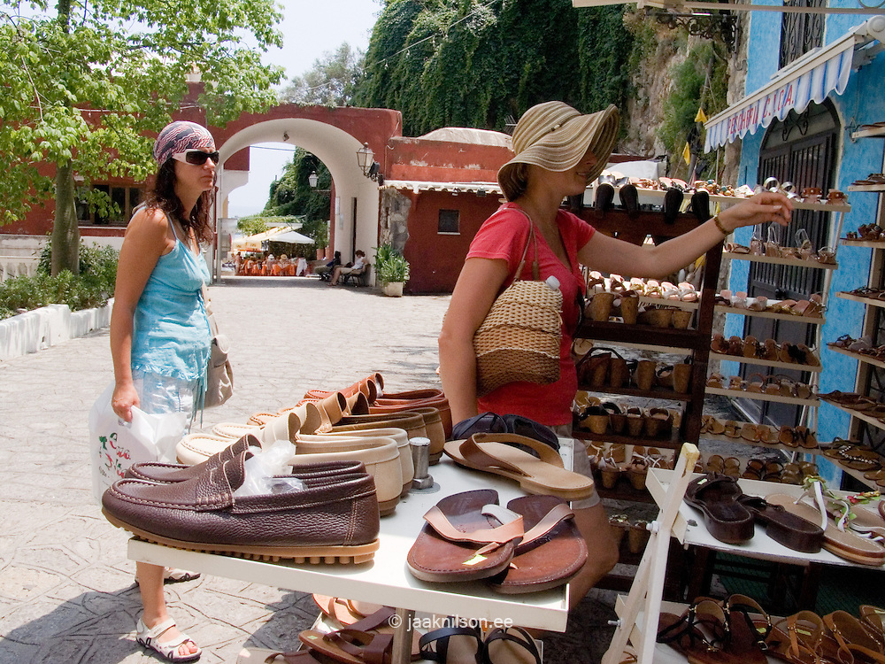 Shoes, Street Sale in Positano at Amalfi Coast, Campania, Italy, Europe,World Heritage Site