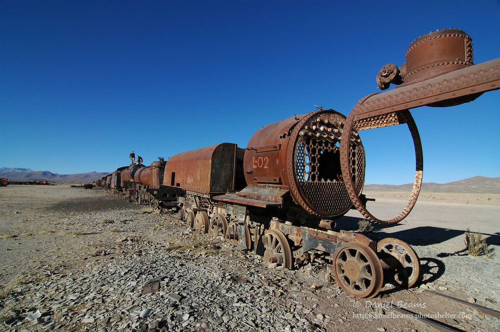 Train cemetery in Uyuni, Potosi, Bolivia