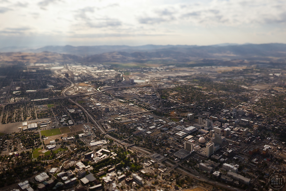 """Reno, Nevada Aerial"" - Reno, Nevada photographed from a hot air balloon. A tilt-shift lens gives the image a ""toy"" like look."