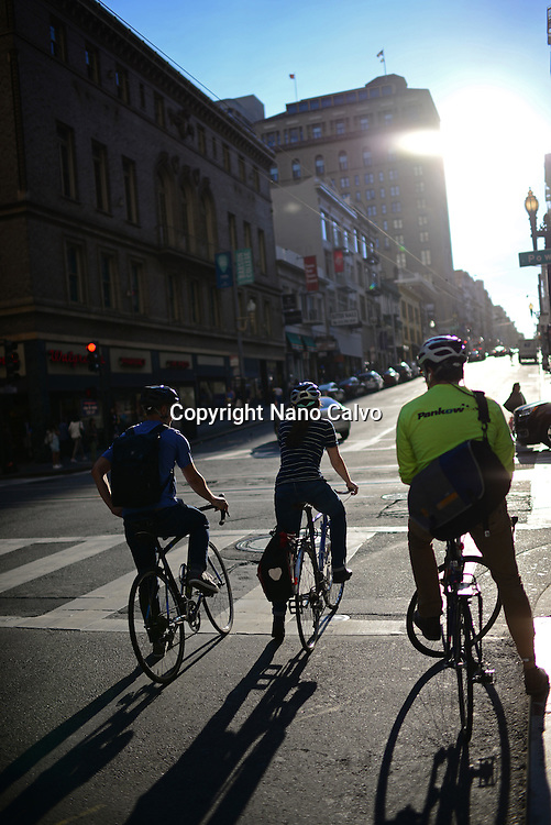 Cyclists waiting for green light in San Francisco.