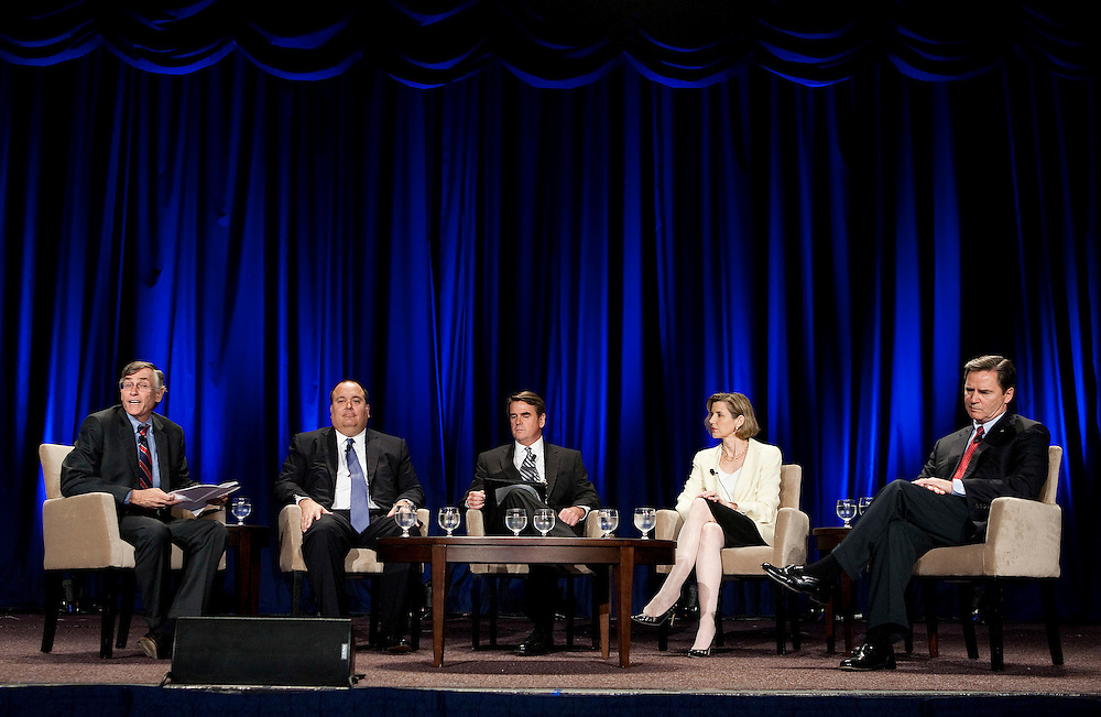 From left, Rick Ketchum, chairman and chief executive officer of the Financial Industry Regulatory Authority (FINRA), Mark Casady, chairman and chief executive officer of LPL Financial Authority, Mark Cresap, president, of Cresap, Inc., Sallie Krawcheck, president of Global Wealth and Investment Management at Bank of America, and Jim Weddle, managing partner at Edward Jones, speak during a panel discussion during the FINRA Annual Conference in Washington, D.C., U.S.,on Monday, May 23, 2011. Photographer: Joshua Roberts/Bloomberg