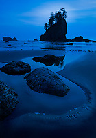 Twilight or blue hour with silhouetted sea stack on Second Beach, Olympic National Park, Washington