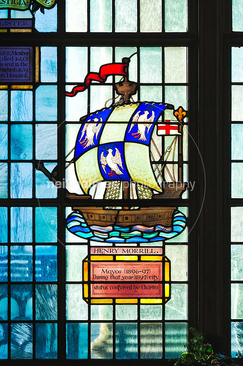 Stained glass window in the banqueting hall of Hull's Guildhall