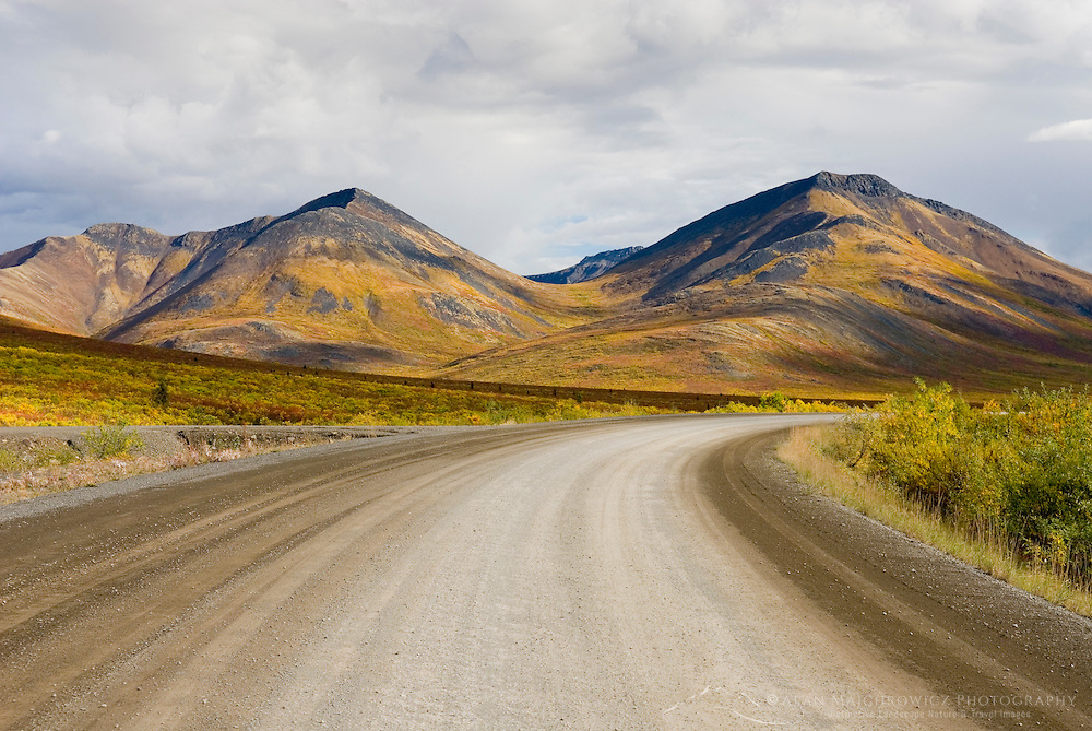 The Dempster Highway winding its way through the Ogilvie Mountains, Tombstone Territorial Park Yukon Canada
