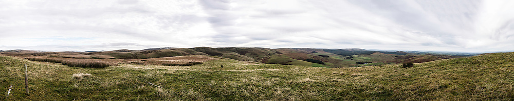 Panoramic from Gaisty Law, Cheviot Hills, Hindhope, Scottish Borders.