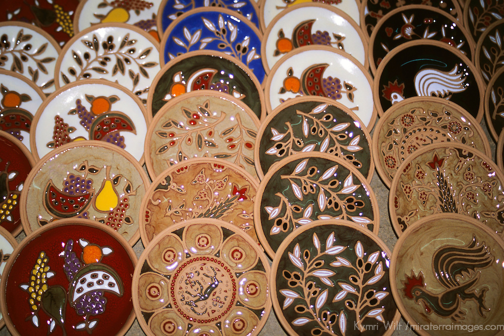 Europe, Greece, Rhodes. Traditional hand-painted ceramic dishes.