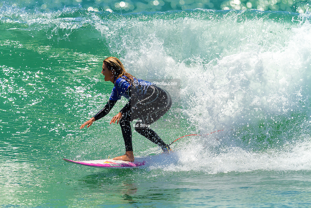 HUNTINGTON, CA/USA (Thurs, June 25) – Surfer Alana Blanchard of Hawaii surfs during round 3 heat 3 at the 2013 Vans U.S. Open of Surfing. Alana finished third place with a socre of 10.10 points and moves on to round 4 heat 4 against surfer Pauline Ado of France. PHOTO © Eduardo E. Silva/SILVEXPHOTO.COM.