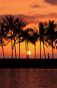 Silhouetted palm trees and woman at sunset, Kohala Coast, The Big Island, Hawaii
