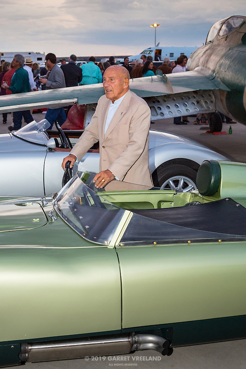 Sir Stirling Moss and 1958 MG EX 186. Sir Stirling took an EX 181 to over 245 mph.