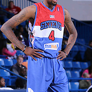 Delaware 87ers Guard Jordan McRae (4) seen on the court in the first half of a NBA D-league regular season basketball game between the Delaware 87ers and the Grand Rapids Drive (Detroit Pistons) Saturday, Apr. 04, 2015 at The Bob Carpenter Sports Convocation Center in Newark, DEL.