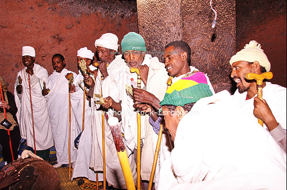 Africa, Ethiopia, Lalibela, Interior of Rock Hewn church of Bete Maryam Sunday mass