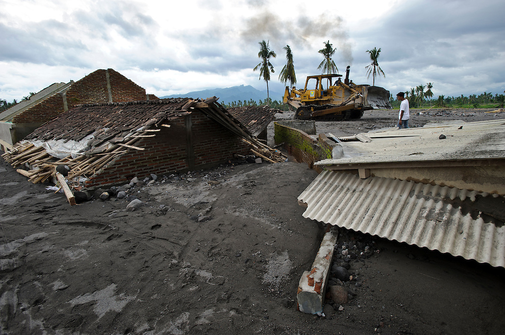 A village badly damaged by a 'lahar dingin', or 'cold lava' mud flow in March 2011, Sirahan, Magelang, nr Yogyakarta, Java, Indonesia.