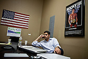 Republican congressional candidate Ricky Gill makes phone calls in his Stockton, Calif. campaign headquarters, September 18, 2012.