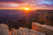 Sunrise at the Grand Canyon. From Powell Point on the Hermit Road, South Rim of Grand Canyon National Park.
