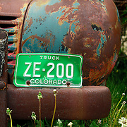 SHOT 7/12/11 10:51:21 AM - An old Dodge pickup truck sits rusting in a yard in Silverton, Co. The town of Silverton is a Statutory Town that is the county seat of, and the only incorporated municipality in, San Juan County, Colorado, United States.[8] Silverton is a former silver mining camp, most or all of which is now included in a federally designated National Historic Landmark District, the Silverton Historic District. The town population was 531 at U.S. Census 2000. (Photo by Marc Piscotty / © 2011)
