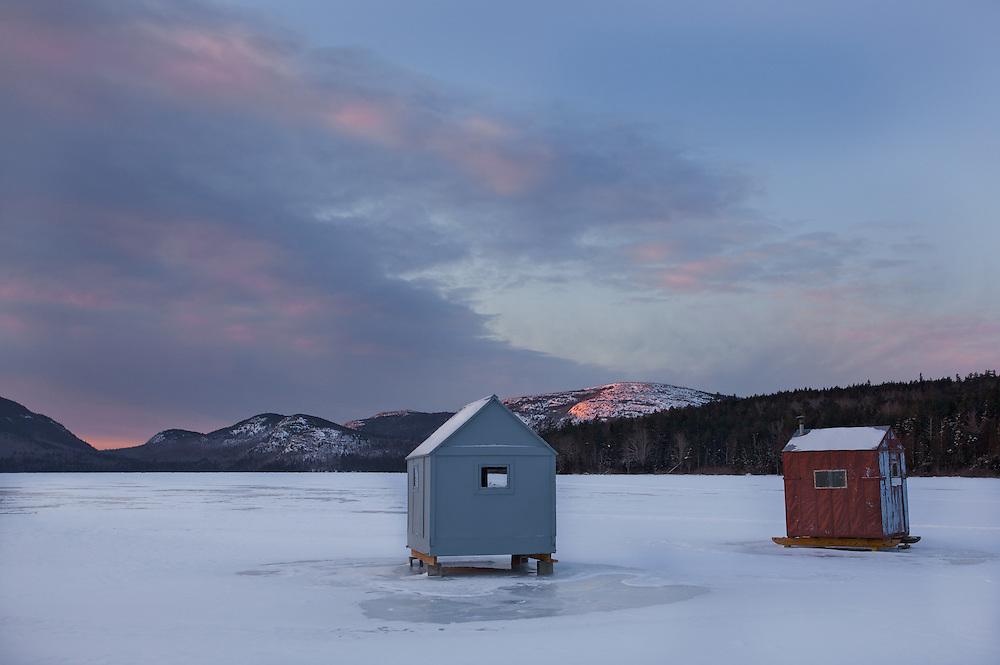 Ice fishing shacks eagle lake acadia fishhawk photos for Maine ice fishing