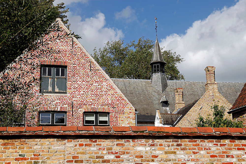 Europe, Belgium, Brugges. Gabled roof and steeple of Brugges.