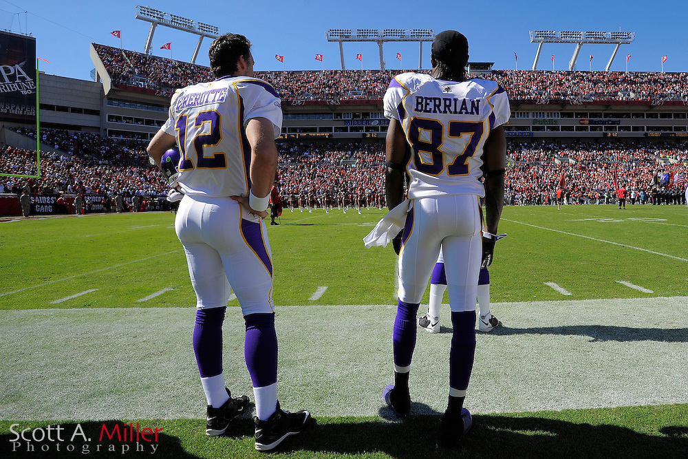 Nov. 16, 2008; Tampa, FL, USA; Minnesota Vikings quarterback Gus Frerotte (12) and wide receiver Bernard Berrian (87) prior to their game against the Tampa Bay Buccaneers at Raymond James Stadium. The Bucs won 19-13. ...©2008 Scott A. Miller