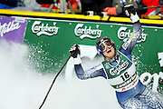 (SANTA CATERINA, Italy - Shot 2/8/2005).U.S. skiier Julia Mancuso (#16) reacts as she looks back at her time after the second run of the Women's Giant Slalom at the FIS Alpine World Ski Championships Tuesday on the Pista Deborah Compagnoni course in Santa Caterina, Italy. The race was won by Anja Paerson of Sweden with a two-run time of 2:13.63 and U.S. skiier Julia Mancuso made up some ground (from the seventh position) on her second run to place third with a time of 2:14.27..(Photo by MARC PISCOTTY / 2005)