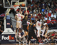 "Missouri's Ryan Rosburg (44) vs. Mississippi's Reginald Buckner (23) at the C.M. ""Tad"" Smith Coliseum on Saturday, January 12, 2013. Ole Miss defeated #10 ranked Missouri 64-49."