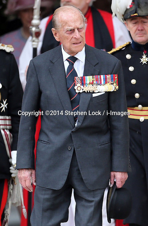 Image licensed to i-Images Picture Agency. 28/06/2014. London, United Kingdom. The Duke of Edinburgh arriving at the Solemn Drumhead Service at the Royal Hospital Chelsea, London. The service was to commemorate those who volunteered to serve in the First World War on the Centenary of the assassination of Archduke Franz Ferdinand.  Picture by Stephen Lock / i-Images