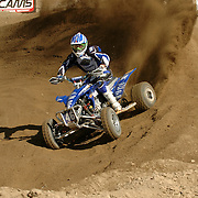 Richard Pelchat (#46) roosting a high banked berm during the ATVA Nationals at Glen Helen.