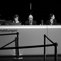 UBS Annual General Meeting. Desk for shareholders who wish to address the meeting or make a commentry.
