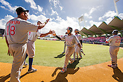 SAN JUAN, PUERTO RICO FEBRUARY 4: Outfielder, ,Leury Garcia, for the Dominican Republic, celebrates with teammates after scoring during the game against Venezuela  on February 4, 2015 in San Juan, Puerto Rico at Hiram Bithorn Stadium(Photo by Jean Fruth)