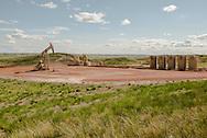 Bakken Oil Fields, oil well, still active after bust, west of Cartwright North Dakota