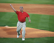 Former Ole Miss coach and two sport All-American Jake Gibbs throws out the ceremonial first pitch at Ole Miss vs. Alabama at Oxford-University Stadium in Oxford, Miss. on Friday, April 12, 2013. Ole Miss won 6-0 to snap a 6 game losing streak.