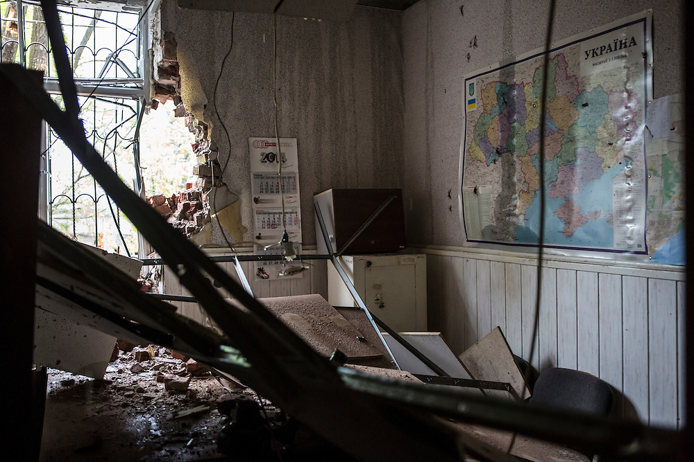 MARIUPOL, UKRAINE - MAY 9: The inside of a police station which was attacked and burned on May 9, 2014 in Mariupol, Ukraine. Witnesses said that Ukrainian National Guard soldiers opened fire on police officers who refused orders to disperse a pro-Russia rally. (Photo by Brendan Hoffman/Getty Images) *** Local Caption ***