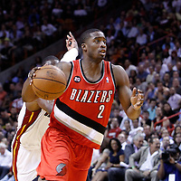 08 March 2011: Portland Trail Blazers guard Wesley Matthews (2) goes to the basket during the Portland Trail Blazers 105-96 victory over the Miami Heat at the AmericanAirlines Arena, Miami, Florida, USA.
