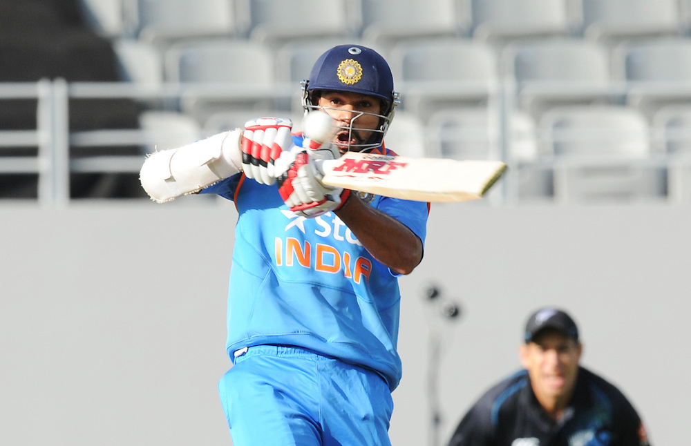 India's Shikhar Dhawan bats against New Zealand in the third one day International cricket match, Eden Park, Auckland, New Zealand, Wednesday, January 25, 2014. Credit:SNPA / Ross Setford