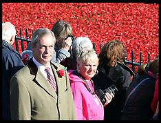 NOV 04 2014 Nigel Farage visits Tower of London poppy installation